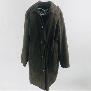 Eddie Bauer arm green lightweight trench coat